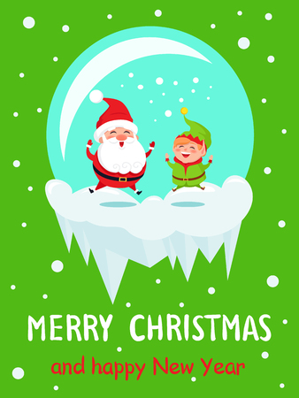 Postcard Merry Christmas and Happy New Year Santa and Elf merrily jumping in glass ball on icy cliff on background of snowflakes vector illustration