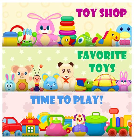 Tijd om te spelen met favoriete speelgoed kleurrijke vector poster in plat ontwerp met pluche dieren en plastic speelgoed voor jongens en meisjes