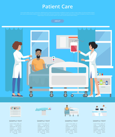 Patient care services visualization with nurses taking care after patient on hospital bed. Vector illustration with medics in clinic room Ilustrace