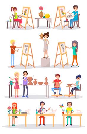 Frohe junge Künstler lokalisierte Karikatur-Illustration Standard-Bild - 91946970