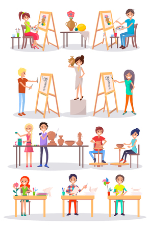 Joyful Young Artists Isolated Cartoon Illustration Illustration