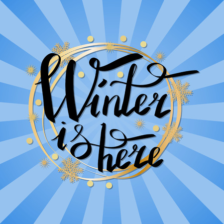 Winter is Here Calligraphic Inscription in Frame Ilustracja