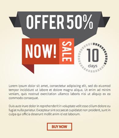 Offer 50 Now Sale Web Page Vector Illustration Illustration