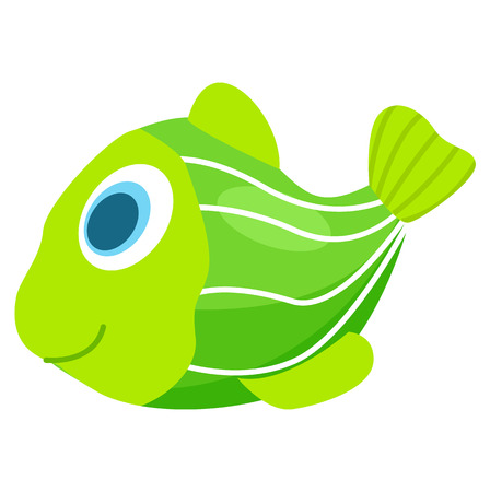 Rubber or Plastic Green Fish for Children to Take Bath