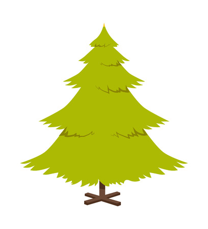Christmas pine tree, poster with symbolic decoration during wintertime holidays, plant standing on stand, vector illustration isolated on white