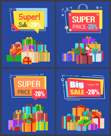 Super sale best prices discounts 20, -35 , premium offer labels of geometric shapes with percent signs and many gift boxes in color wrappings vector set