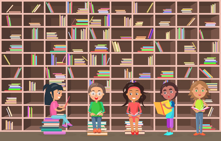 Little girls and boys stand and sit beside huge bookcase full of books with colorful covers in library and read vector illustration.