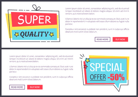 Super quality and special offer, two web pages with information, stickers with stars and buttons below text, vector illustration isolated on white
