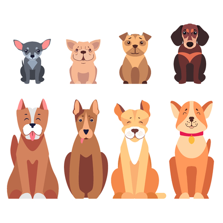 Cute cartoon dogs set sitting with smiling muzzle and hanging out tongue flat vector isolated on white. Lovely purebred pets illustration for vet clinic, breed club or shop ad