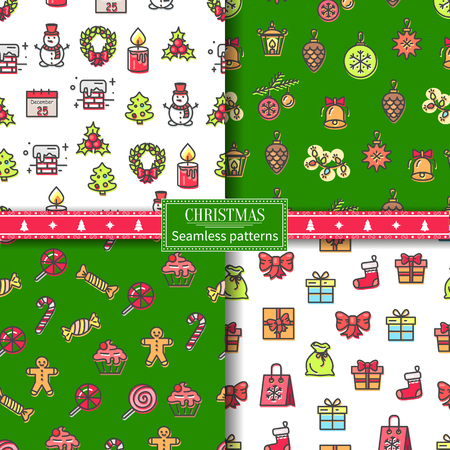 Christmas seamless patterns with headline and icons of chimney and calendar, snowman and wreath, candy and toys set isolated on vector illustration
