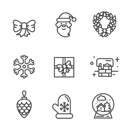 Set of transparent xmas icons isolated on white background. Vector illustration with happy smiling Santa, snowy chimney and gift box decorated with bow Illustration