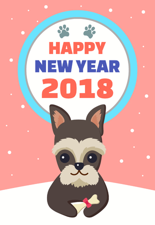 Happy New Year 2018, poster with symbol of approaching period, dog sitting with bone decorated with bow, snowflakes isolated on vector illustration