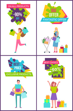 On all products -90 , big and fantastic offer, best price and exclusive, set of placards with images of shopping people o vector illustration Illusztráció