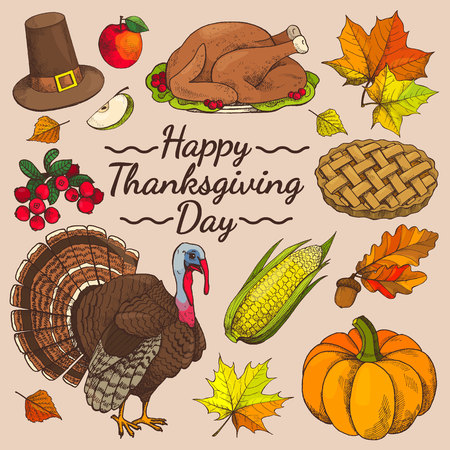 Happy Thanksgiving day promo poster with symbolic images of turkey and apple and corn, leaves and pie, hat and berries on vector illustration