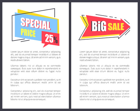 Big Sale with Sppecial Price Promotional Posters Illustration