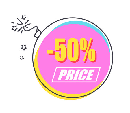 50 Sale Promo Sticker in Shape of Alight Bomb