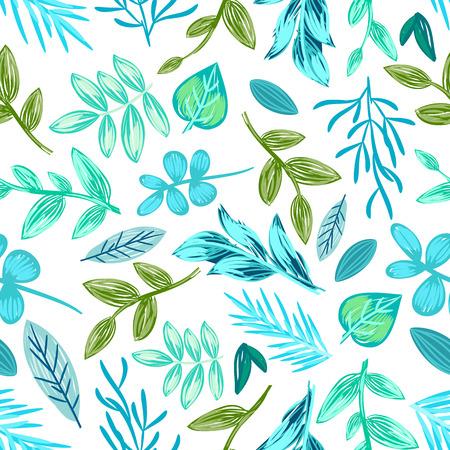 Drawn Plants Seamless Pattern Vector Illustration