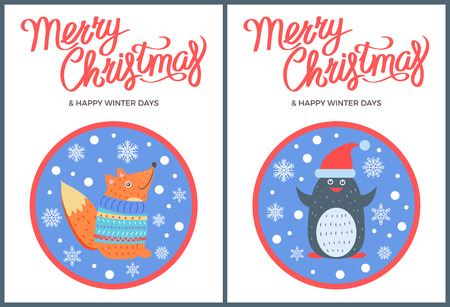 Merry Christmas and Winter Vector Fox Penguin Icon Zdjęcie Seryjne - 91814194