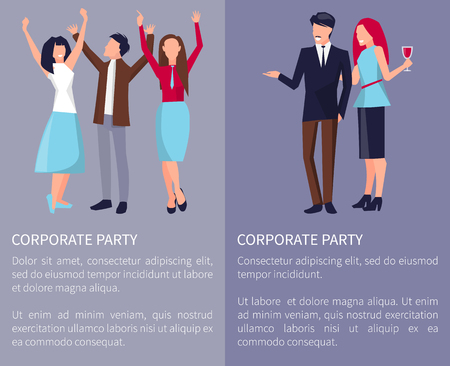 Corporate party poster with colleagues dancing, having fun and having drinks on party. Vector illustration with coworkers on violet background