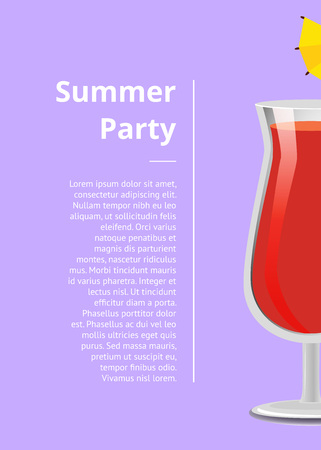 Summer party advertising poster with half icon of alcoholic drink in festive decorated glass. Vector illustration with beverages on purple background