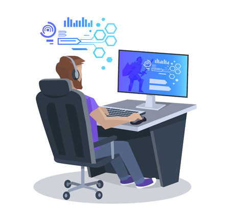 Man Playing Computer Game Vector Illustration Illustration