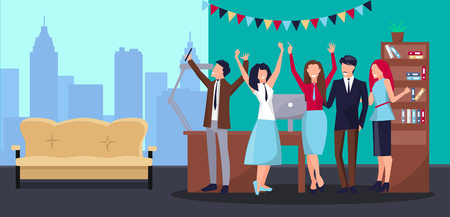 Corporate Party in Office Vector Illustration