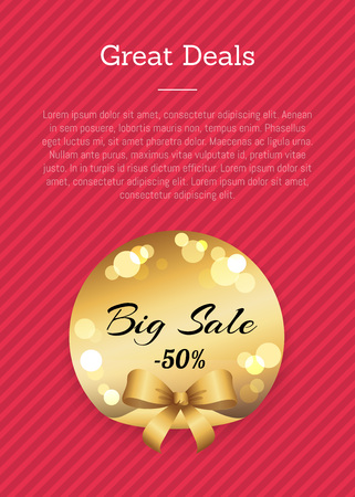 Great deals golden label with round blurred elements vector illustration with gold bow isolated on poster on pink background, place for text