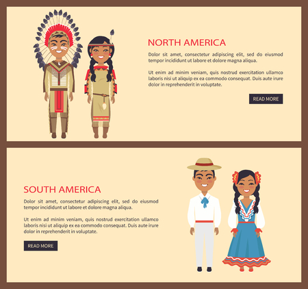 North and South American people Vector Illustration Ilustração