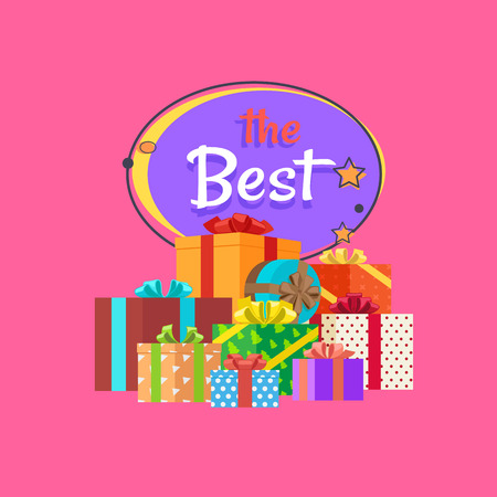 The best night sale banner with abstract moon and stars vector poster isolated on pink background with piles of presents gift boxes in color wrapping