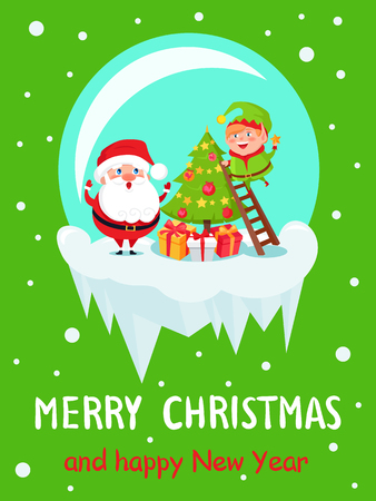 Merry Christmas and Happy New Year poster Santa Elf in glass ball decorate Xmas tree on ladder, present boxes under pine vector illustration on snow