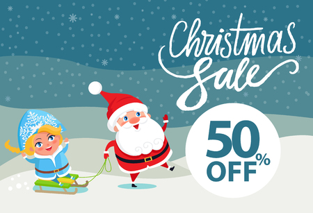 Final Christmas sale holiday discount 50 off poster Santa and Snow Maiden riding on sleigh on winter landscape vector illustration advert banner