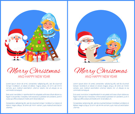 Merry Christmas and happy New Year, poster with text and image of Snow Maiden standing on ladder decorating tree, Santa with list vector illustration