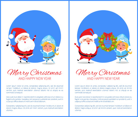 Merry Christmas and Happy New Year posters with Santa and Snow Maiden singing caro songs, hanging decorative wreath vector cartoon characters set Ilustração