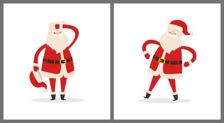 サンタクロースは疲れた父のクリスマスは帽子を脱いで、頭の上に手を保持し、白に隔離された手側ビューベクトル図アイコンを持っています。  イラスト・ベクター素材