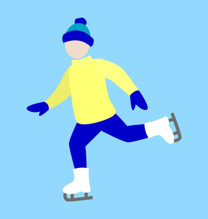 Ice-skating happy man icon isolated on light blue background. Vector illustration with warm dressed person in knitted hat with funny bubo and mittens
