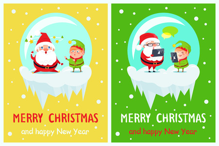 Merry Christmas and Happy New Year postcard Santa and Elf fatigue characters, sending greetings via tablet and smartphone, chatting in Internet vector Çizim
