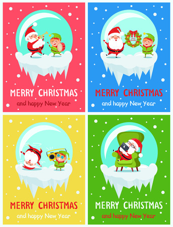 Merry Christmas and Happy New Year banners with Santa and Elf adventures playing on trumpet and drum, holding wreath, listen to music, rest in armchair