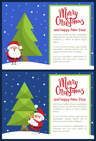 Merry Christmas and Happy New Year poster with Santa singing songs and plays the trumpet at night forest vector postcards with place for text vector