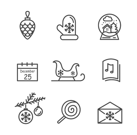 Christmas Icons Colorless Vector Illustration  イラスト・ベクター素材