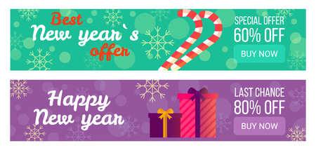 Set of sale banners for New Year vector illustration Illustration