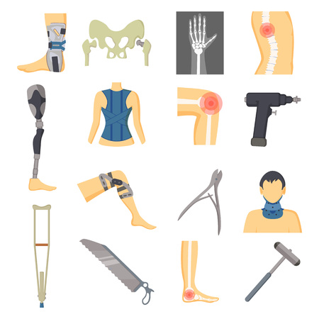 Orthopedic icons collection, hand shown in x-ray, man with bandage on neck, leg and foot in pain, spine and problems, tools vector illustration icons set