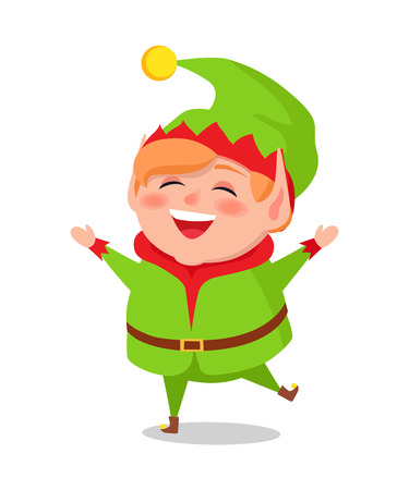 Merry Elf in green suit standing on one leg vector illustration