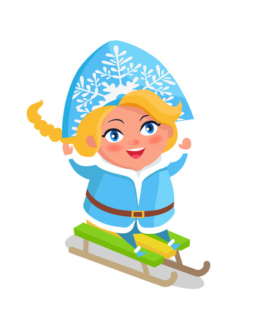 Snow Maiden with blue eyes and blonde hair riding on winter sleigh vector illustration postcard with cartoon character isolated on white background
