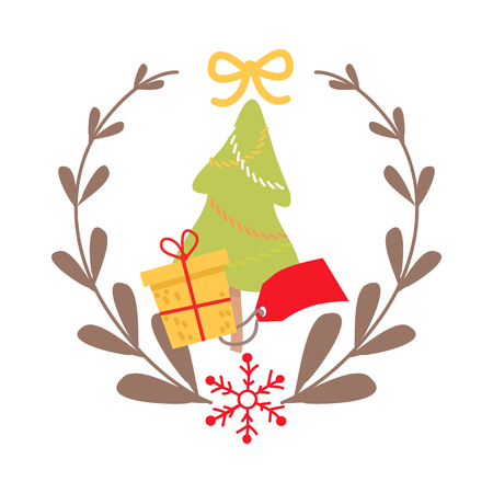 Beautiful Christmas badge on white background. Vector illustration of best icon surrounded by gray wreath and red snowflake. In centre of image green fir tree and yellow present with red tag. Ilustração