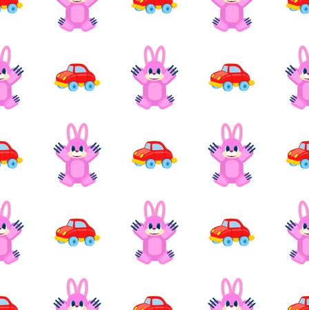 上げられた足と赤い車のシームレスなパターンを持つピンクのハーレは、白にシームレスなパターン。子供のための遊び物のベクトルカラフルな包  イラスト・ベクター素材