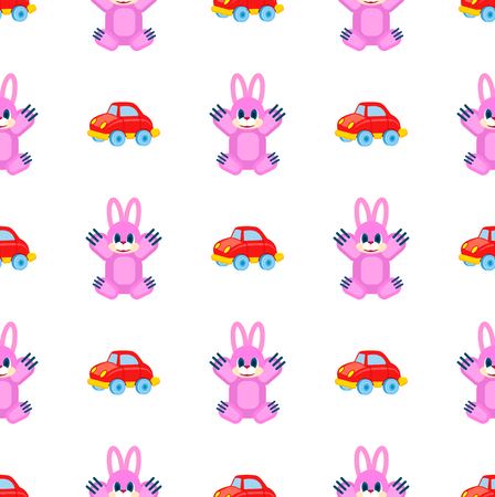 Pink hares with raised paws and red cars seamless pattern on white. Vector colorful wrapping paper of plaything for children Illustration