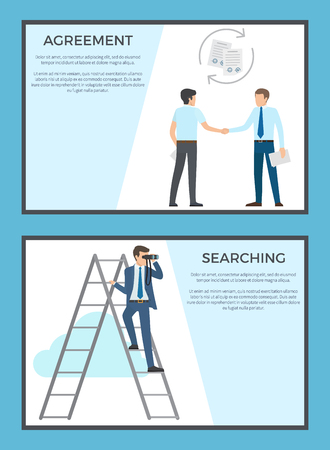 Agreement and Searching Collection of Posters Illustration