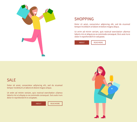 Females with Shopping Bags Vector Illustration