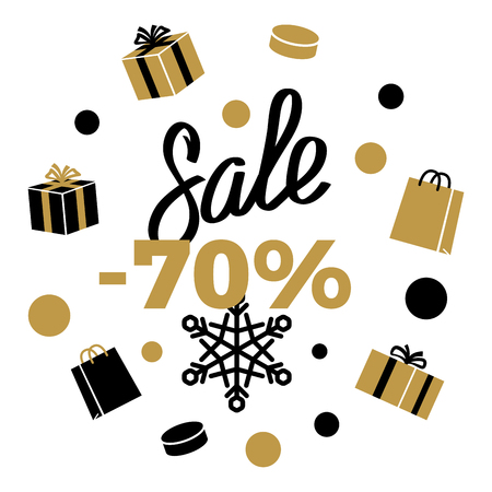 70 Sale Winter Discount Sign on White. Vector