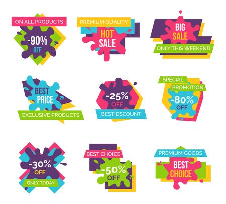 가격 레이블 설정 모든 제품 아이콘의 총 판매 스톡 콘텐츠 - 91868545